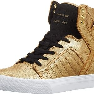 gold glitter supra sneakers for girls